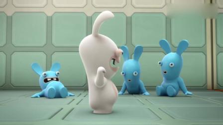 疯狂的兔子:兔子变成一半蓝一半白,下秒兔子们抱在一起,太逗了