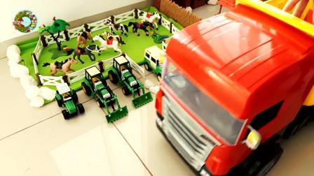 拖拉机玩具,停车场和房屋玩具,儿童农场玩具