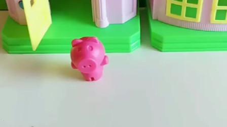 猪妈妈给小猪找食物了,大灰狼来找小猪了,乔治就来救了小猪