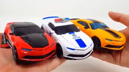 变形金刚玩具186:两款大黄蜂和擎天柱与警车一起变身机器人过程演示