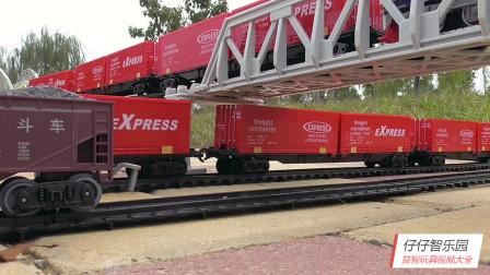 红色集装箱火车专列玩具车,轨道货运列车,火车玩具系列视频