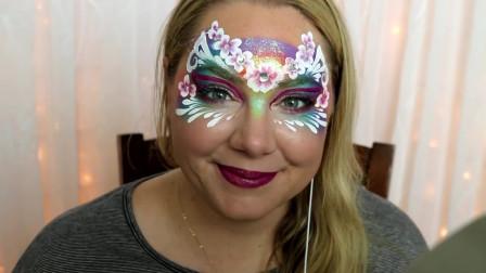 面具彩绘妆容,小姐姐这面具化得好美,娇美可爱
