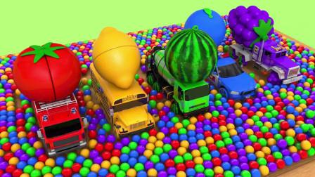 启蒙英语动画 消防车、校车、救护车对应不同颜色的水果