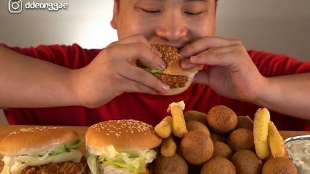 【ddeonggaeTV】汉堡和薯条 奶酪芝士球芝士条  Donkey-弟弟 Real Sound 咀嚼音