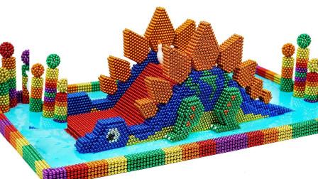 彩色磁力球拼装恐龙乐园
