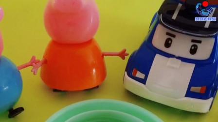 玩乐三分钟 变形警车珀利的合金玩具,还有猪爸爸和猪妈妈