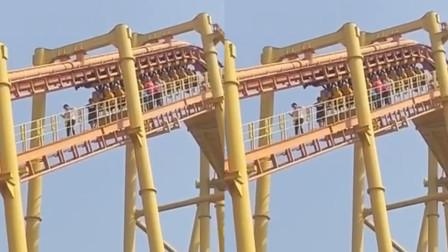 山东临沂一游乐场过山车突遇停电 多名游客被困在高处