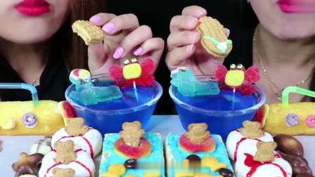 吃播:大胃王母女吃各式甜点,有蛋糕还有饼干