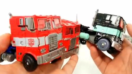 变形金刚玩具189:五款不同大小的方形卡车变身擎天柱机器人展示