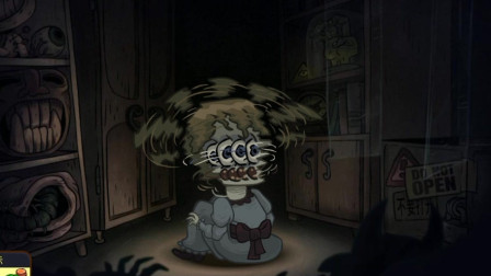 胖虎游戏:陈列室内坐着一位小女孩,脑袋直接变成了一件飞行器!