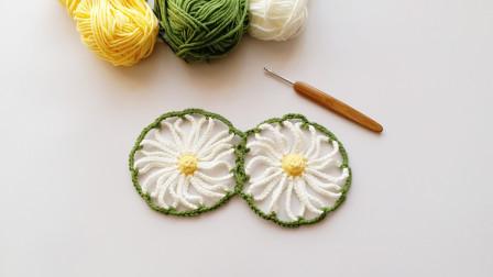 钩针编织清新的非洲菊花片当你喜欢,她一定好看编织教程视频全集