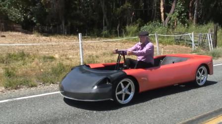 大爷打造的手摇电动汽车,开车就像划船,不仅环保还锻炼身体