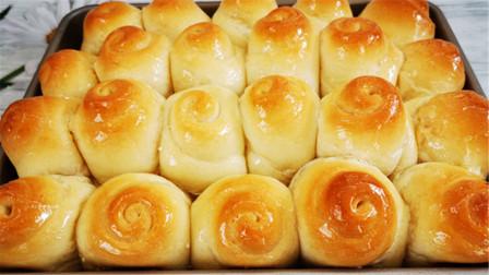 蜂蜜小面包学会这配方就够了,一次发酵,柔软拉丝,比买的还好吃