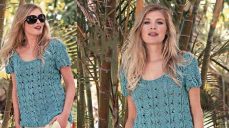 一款简洁立体的镂空花样,简单漂亮,织衣服和围巾都不错创意编织