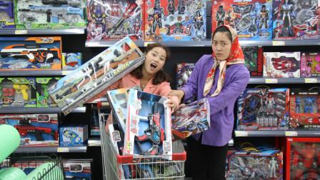傻妞进城3:傻妞到超市发现玩具枪,第一次见玩具枪的傻妞非要买