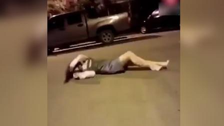 女子喝醉后躺在马路中央,生前最后10秒被拍下!