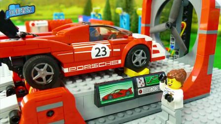 赛车检修趣味改装赛道PK比赛乐高积木玩具