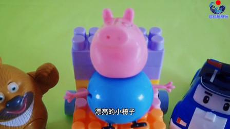 小猪佩奇 变形警察珀利警察巡逻车