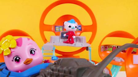 海底小纵队总部基地萌鸡小队开飞机  惊喜娃娃运来好多彩蛋