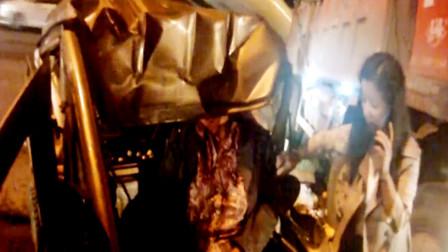 【重庆】三轮车与货车相撞 驾驶员头皮被削鲜血直流