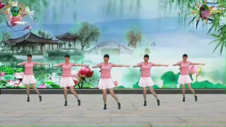 阳光美梅原创广场舞【我是一朵受伤的玫瑰】水兵舞风格32步--背面演示-编舞:美梅