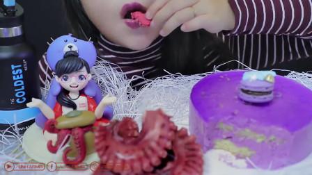 紫色食物的吃播放送:海洋美人鱼马卡龙的吃播