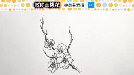 桃花速写画法步骤介绍!教你一笔一画画简单又好看的桃花插画手绘!