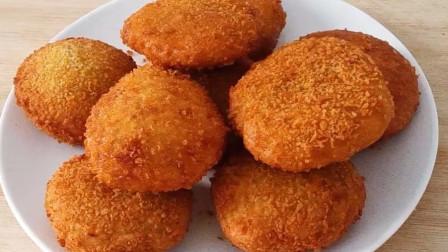 一块南瓜,半碗糯米粉,教你南瓜饼新做法,外酥里糯,好吃到吮指