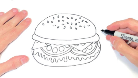 儿童简笔画;如何绘制汉堡简单绘图的汉堡包