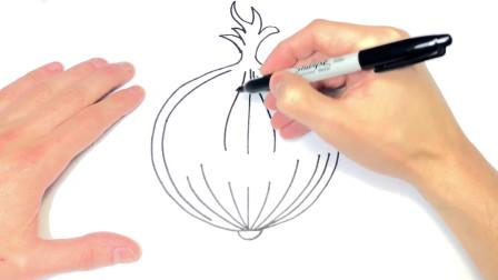 儿童简笔画;如何绘制洋葱一步一步洋葱绘图
