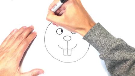 儿童简笔画;如何绘制海狸一步一步海狸绘图