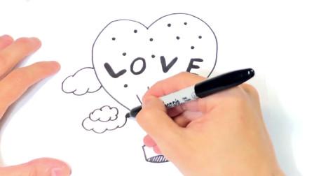 儿童简笔画;如何绘制爱字可爱的浪漫爱情图纸