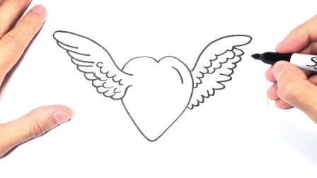儿童简笔画;如何绘制爱心和天使翅膀
