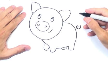 儿童简笔画;如何绘制猪一步一步绘图