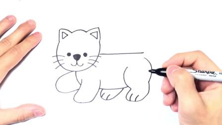 儿童简笔画;如何绘制猫一步一步猫图
