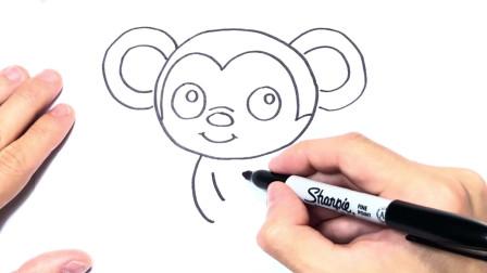 儿童简笔画;如何绘制猴子一步一步猴子绘图