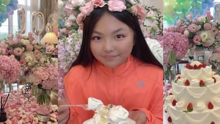 李湘庆祝女儿王诗龄十岁生日!小公主戴着花环吃蛋糕,五官很甜美