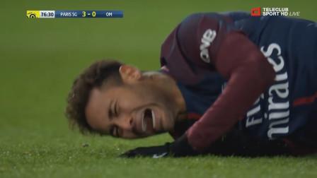 看着都疼!内马尔被对手侵犯时刻,踢球华丽最后倒霉的还是自己!