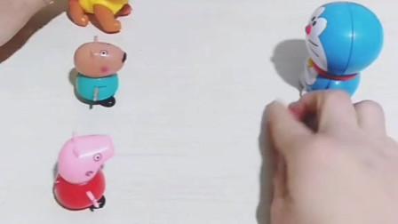 少儿益智亲子玩具:今天是乔治的生日,小猪佩奇想让哆啦A梦变一个蛋糕,可佩奇没有小红心!
