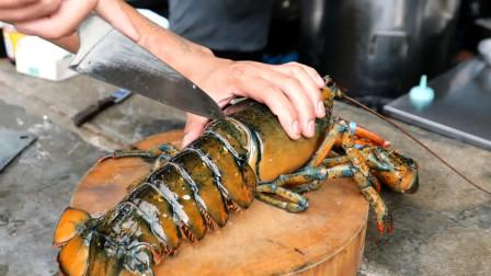 """老板抓了一只""""巨型龙虾"""",直接就是一刀,这是什么操作?"""