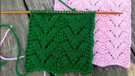 毛衣棒针编织花样,精美的叶子花,简洁整齐,织衣服很好看