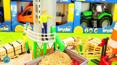 农场工程车拖车施工,拖车装载车自卸车搅拌车,马舍牛棚修路管道,儿童玩具亲子互动
