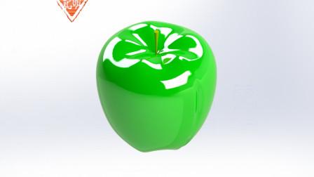 亦明3D:SolidWorks建模,苹果,用扫描中的引导线控制外形