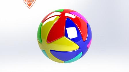 亦明3D:SolidWorks建模,十字纹足球,曲面和圆周阵列可以做出的效果