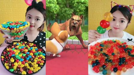小姐姐直播吃彩色巧克力豆三色糖葫芦,看着就很过瘾
