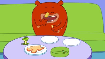 咕力咕力;不要贪吃 红咕力吃太多肚子疼,引导宝宝健康合理饮食