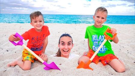 太有趣!萌宝小正太怎么把妈妈埋在沙子里?可是谁送他们惊喜蛋?儿童亲子趣味游戏玩具故事
