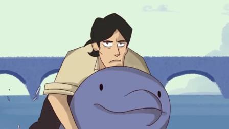 小伙去海里游泳,海豚还以为他要轻生,把他救了回来!