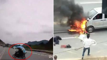 爷孙3人骑摩托车被面包车撞飞几十米远 致2人遇难身亡