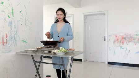 天冷安安老师在家做火锅,干净卫生比在外面吃的还爽